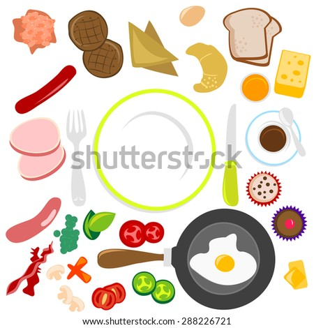 A vector illustration set of yummy breakfast or food design elements. - stock vector