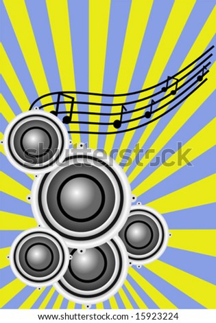 a vector illustration with a group of musical speakers on a sunburst yellow and blue background with a musical clef