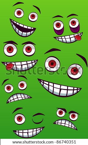 A vector illustration with smiling faces . Can be recolored or scaled without problems and quality loss - stock vector