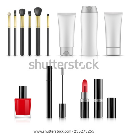 A vector illustrations of various cosmetic products - stock vector