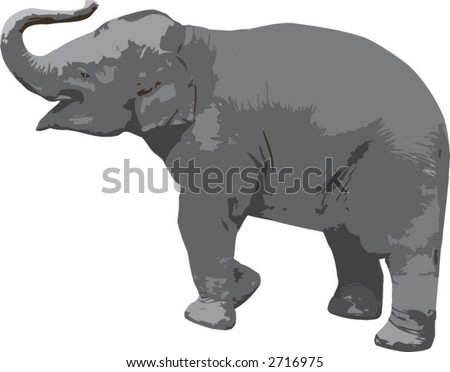 A vector image of a baby elephant - stock vector