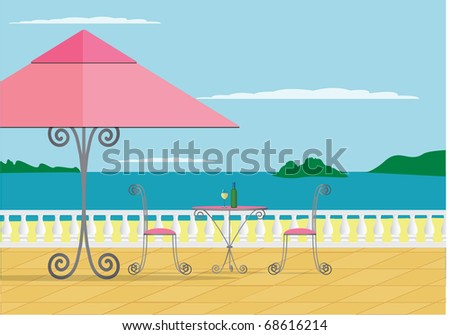 A vector image of a beach cafe. - stock vector