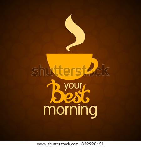 A vector image of a coffee cup with lettering - stock vector