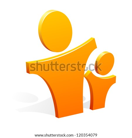 A vector image of a 3d figures of the adult and child - stock vector