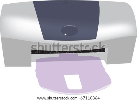 A vector image of a home printer. - stock vector