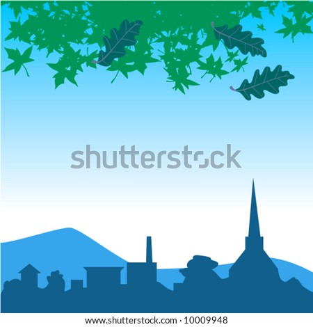 A vector landscape background of a little town - stock vector