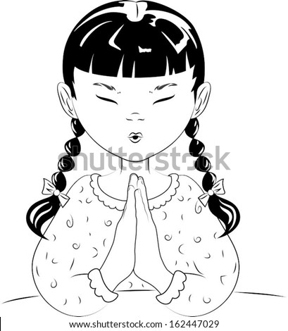 A vector line drawing of a young girl with pigtails, with her hands together, saying her prayers before she goes to bed. - stock vector