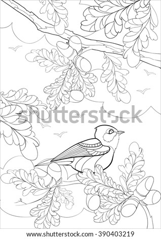 A4 Vector monochrome  Zentangle stylized abstract bright bird on a branch with leaves and acorns. Art and Color Therapy anti stress. An anti-stress Coloring Book. coloring page adult and children.  - stock vector