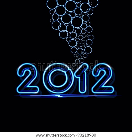 A vector New Year card 2012 made from blue neon lights on black background for New Year & other occasions. - stock vector