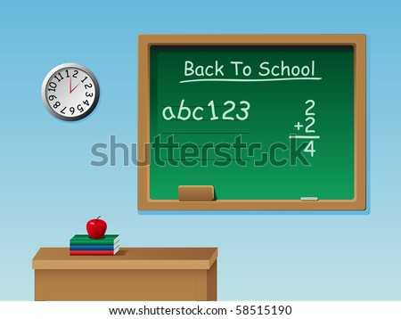 A vector of a classroom with a desk, chalkboard, chalk, books, clock and an apple - stock vector