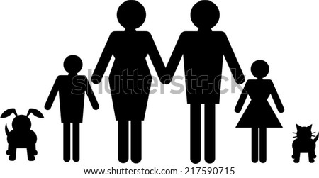 A vector of a family of four with cat and dog in silhouette for use as e design element - stock vector