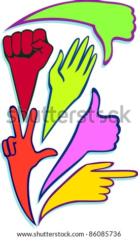 A vector of creative hands in different poses. - stock vector