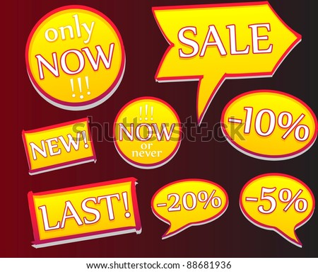 A vector of sale's labels. All objects are separated they can be scaled without quality loss. - stock vector