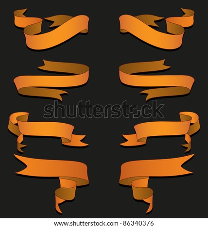 A vector pack of golden ribbons. All objects are separated, the can be scaled or recolored without problems and quality loss. - stock vector