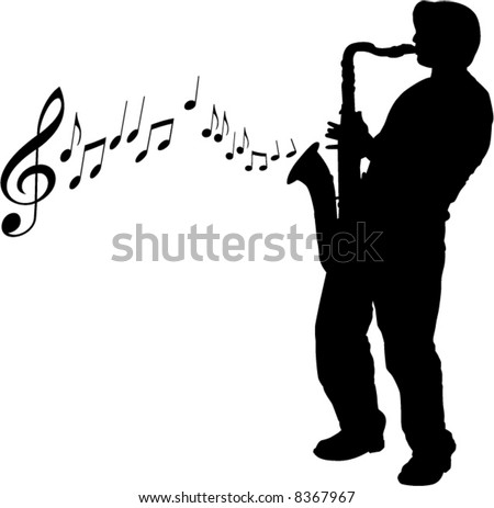 A vector sax player background with notes - stock vector