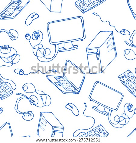A vector seamless pattern of hand drawn doodles of electronic gadgets. Computer, laptop, monitor - stock vector