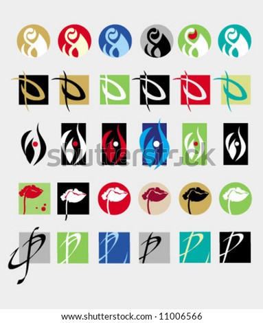 A vector series of logos and trade marks. Perfumery, botany, flora.