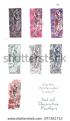 A vector set of decorative paintings of a stylized feather made as several imprints from a watercolor linocut