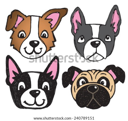 A vector set of 4 dog's faces drawn in a scratchy style, including pug and boston terrier.  - stock vector