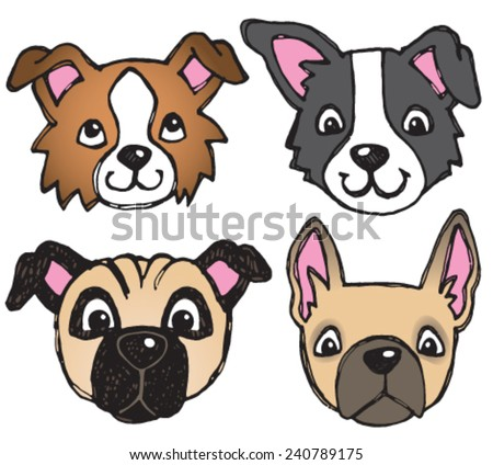 A vector set of 4 dog's faces drawn in a scratchy style, including pug and french bulldog.  - stock vector