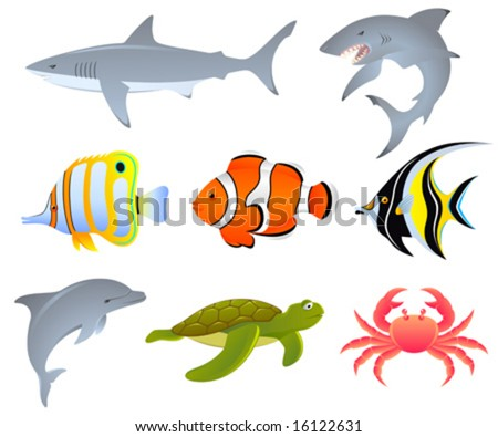 A vector set of sea creatures - stock vector