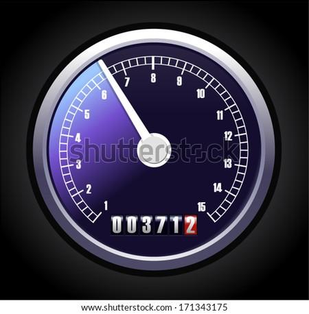 A vector speedometer illustration - stock vector