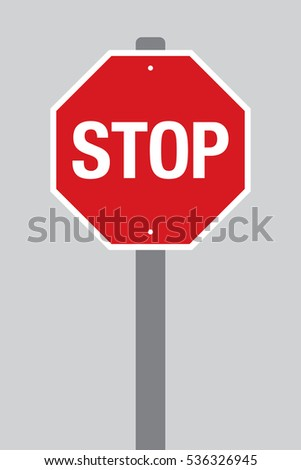 A vector stop sign on a pole over a plain grey background.