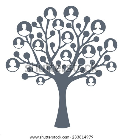 A vector tree with human man and woman silhouettes instead of leaves. Concept of social network, teamwork and family tree.  - stock vector