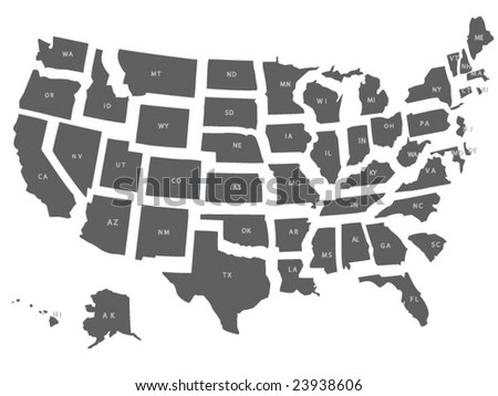 A vector usa map with all states in separate layers. - stock vector