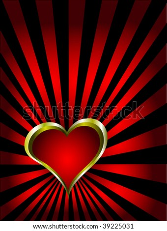 A vector valentines background with gold hearts on a deep red and black backdrop