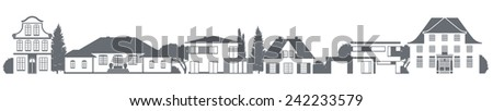 a vector variety of homes in different architectural styles - stock vector