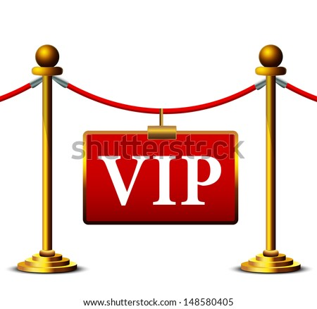 A velvet rope barrier, with a vip sign Isolated on white background  - stock vector