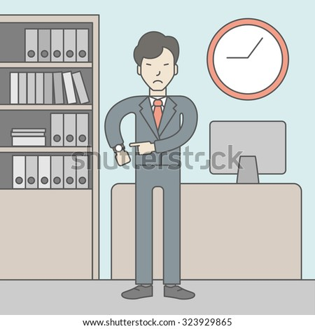 A very angry boss standing in office and pointing at wrist watch. Deadline concept. Vector line design illustration. Square layout. - stock vector