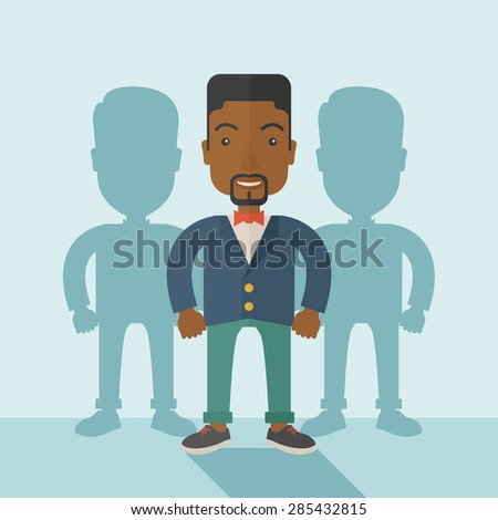 A very confident black guy standing straight showing that he has a strong teambuilding togetherness. Teamwork concept. A contemporary style with pastel palette soft blue tinted background. Vector flat - stock vector