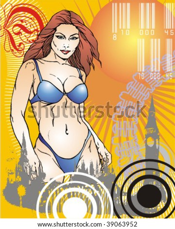 a very creative illustration of an imaginary woman - stock vector