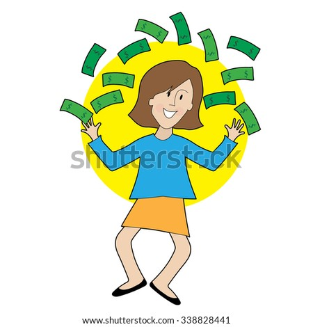 A very happy lady is jumping and throwing money in the air - stock vector