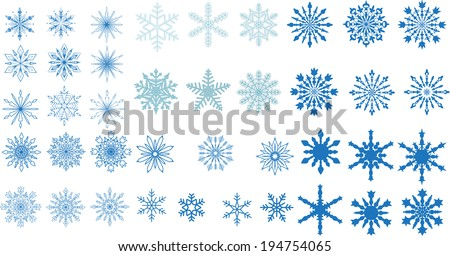 A very large set of various carved, lace or simple snowflakes