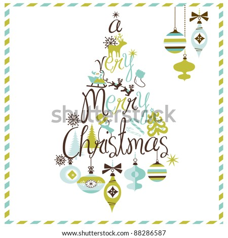 A Very Merry Christmas tree design - stock vector