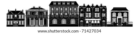 A very smart expensive luxurious row of Edwardian, Victorian and Georgian houses and other buildings - stock vector
