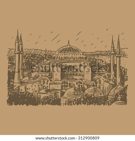 A view of Hagia Sophia, Istanbul, Turkey. Vector freehand pencil sketch. - stock vector