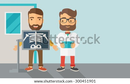 A view of man is holding a X-ray picture.  Contemporary style with pastel palette, soft blue tinted background. Vector flat design illustrations. Horizontal layout with text space in right side. - stock vector