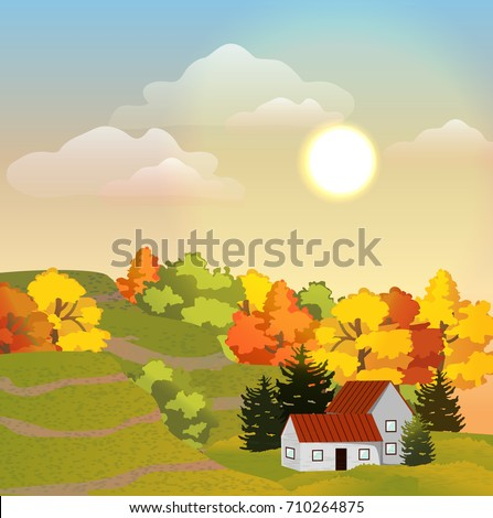 A village house with a red roof, two floors and an annex to one floor. Life in the suburbs. Meadow, hills and autumn forest from deciduous and coniferous trees. Autumnal vector landscape