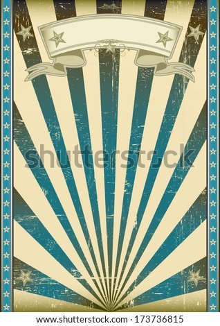 A vintage and retro style blue poster with a texture. - stock vector