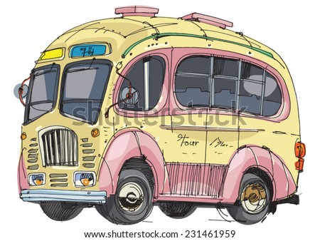 a vintage bus - cartoon - stock vector