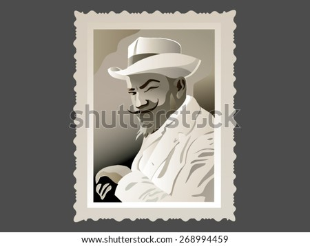A vintage gentleman vector post stamp illustration - stock vector