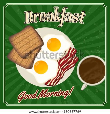 A vintage styled breakfast poster, vector illustration - stock vector