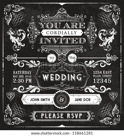 A vintage victorian wedding invitation filled with all kinds of design elements. - stock vector