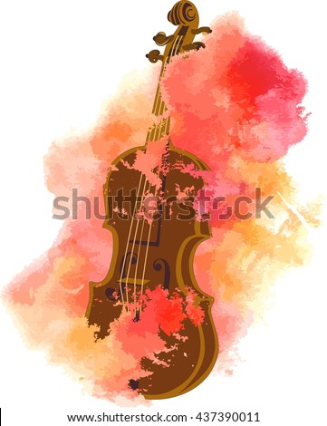 A vintage violin in a romantic pink watercolor cloud; 'happy music' concept; scalable vector graphic - stock vector