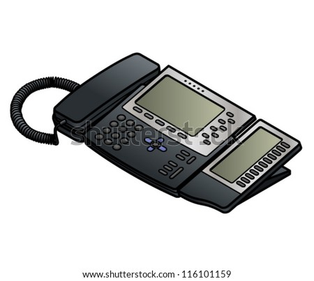A voice-over-IP desktop phone with two LCD screens. - stock vector
