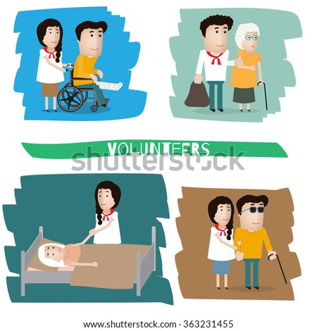 a volunteer helps a blind, old grandmother, the patient - stock vector